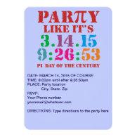 Pi day invitation 2015 party like 3.14.15 9:26:53