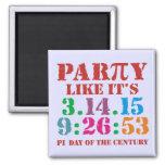 Pi day magnet 2015 3.14.15 9:26:53 2 inch square magnet
