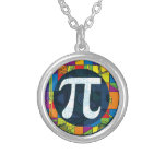Pi Day Pi Symbols Round Pendant Necklace