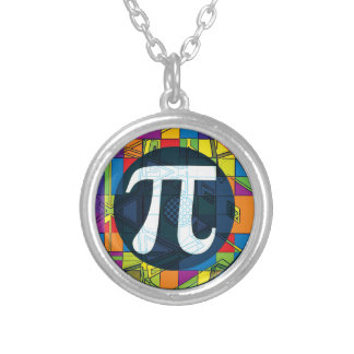 Pi Day Pi Symbols Silver Plated Necklace