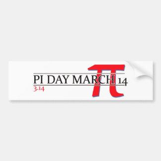 Pi día 14 de marzo feliz pegatina de parachoque