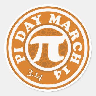 Pi día 14 de marzo feliz pegatina redonda