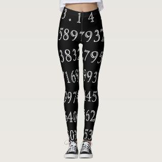 Pi Digits Math Love Pi= 3.14159 Pi Day Black White Leggings at Zazzle