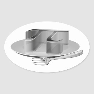 Pi en un disco de plata calcomania de óval personalizadas