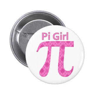 Pi GIrl Hot Pink Argyle 2 Inch Round Button
