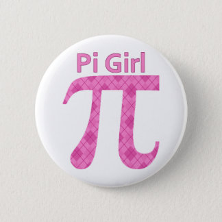 Pi GIrl Hot Pink Argyle Pinback Button