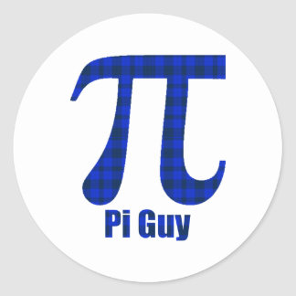 Pi Guy Blue and Black Plaid Pi Day Gifts and Tees Classic Round Sticker
