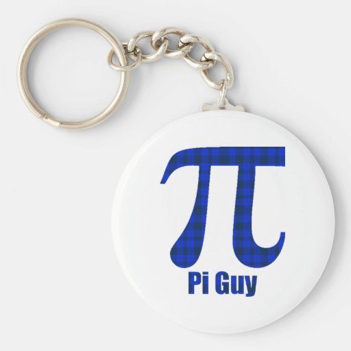 Pi Guy Blue and Black Plaid Pi Day Gifts and Tees Keychain