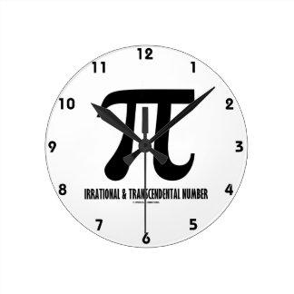 Pi Irrational And Transcendental Number (Math) Round Clock