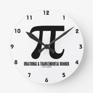 Pi Irrational And Transcendental Number (Math) Round Wall Clock