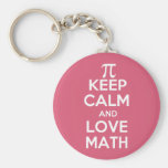Pi keep calm and love math basic round button keychain