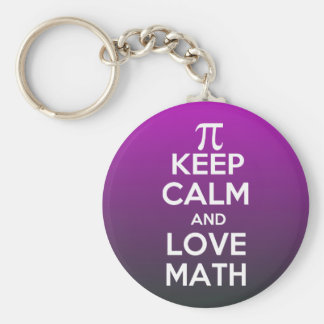 Pi keep calm and love math keychain