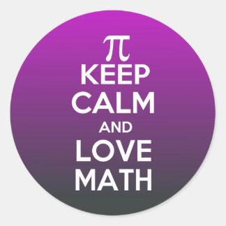 Pi keep calm and love math classic round sticker