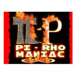 Pi - MANIACO de rho - LETRAS GRIEGAS FLAMEADAS (PI Tarjeta Postal