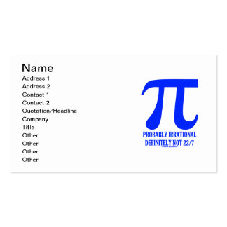 Pi Math Probably Irrational Definitely Not 22 7 Business Card