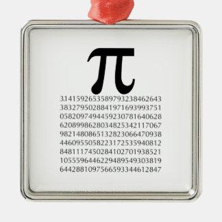 pi  maths square metal christmas ornament