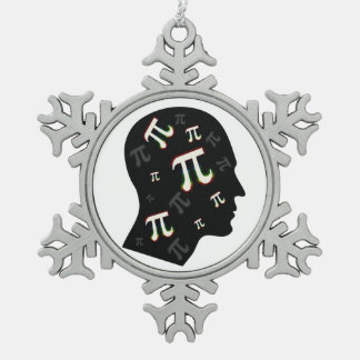 Pi Mind   Geek Snowflake Pewter Christmas Ornament