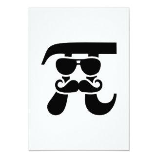 Pi Mustache sunglasses 3.5x5 Paper Invitation Card