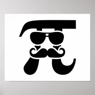 Pi Mustache sunglasses Poster
