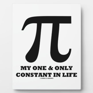 Pi My One And Only Constant In Life (Math Humor) Plaque