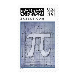 Pi Number Drawing Postage Stamps