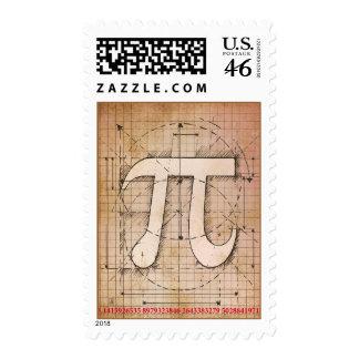 Pi Number Drawing Postage Stamp