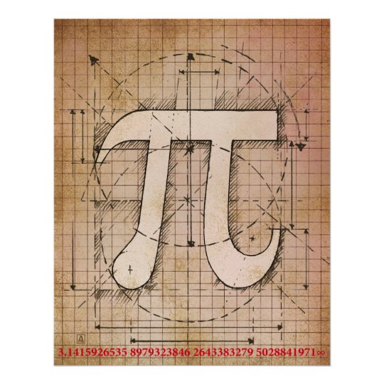 Pi Number Drawing Poster
