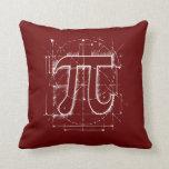 Pi Number Drawing Throw Pillows