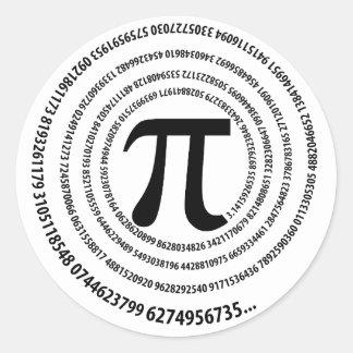 Pi Number Spiral Design Classic Round Sticker