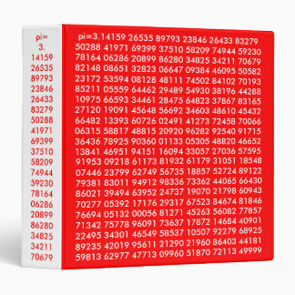 pi numbers, Math Love, 3 Ring Binder Red White
