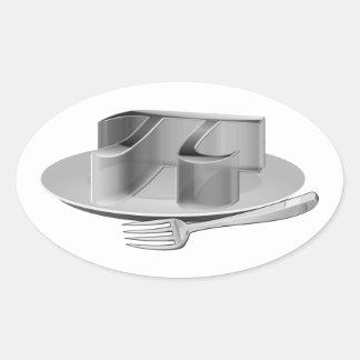 Pi on a Silver Platter Oval Sticker