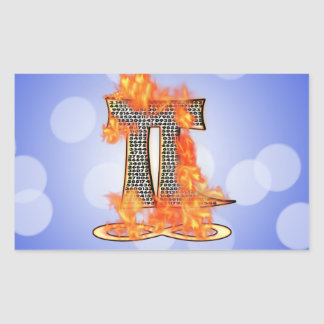 PI ON FIRE TO INFINITY RECTANGULAR STICKER