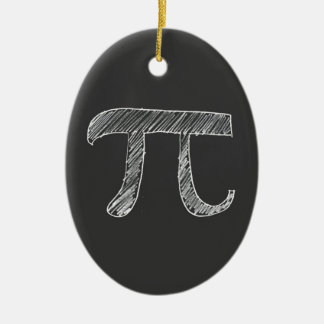 Pi Double-Sided Oval Ceramic Christmas Ornament