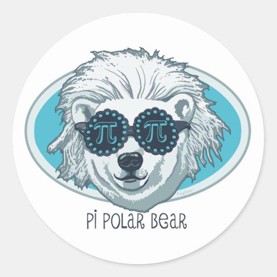 Pi Polar Bear Classic Round Sticker