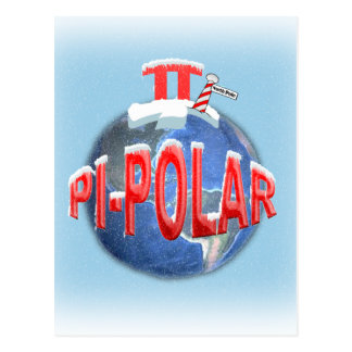 PI POLAR (NORTH POLE) MATH JOKE POSTCARD