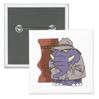 PI private eye spy sneaky elephant 2 Inch Square Button