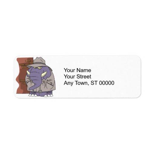 PI private eye spy sneaky elephant Return Address Label