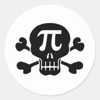 Pi rate classic round sticker