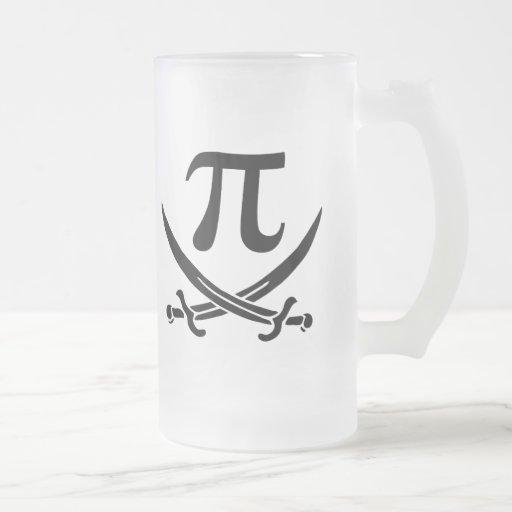 pi-rate pi symbol jolly roger 16 oz frosted glass beer mug