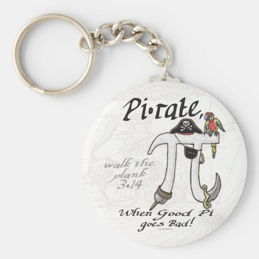 Pi rate Pirate Pi Day Shirts and Gifts Key Chain