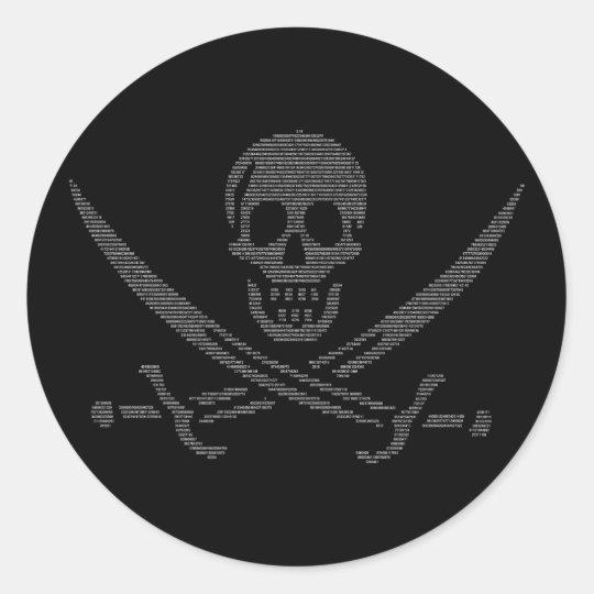 pi-rate (pirate symbol made of digits of pi) classic round sticker