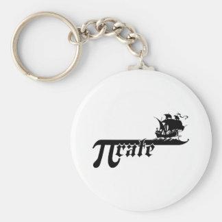 Pi rate ship basic round button keychain