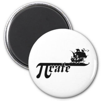 Pi rate ship 2 inch round magnet