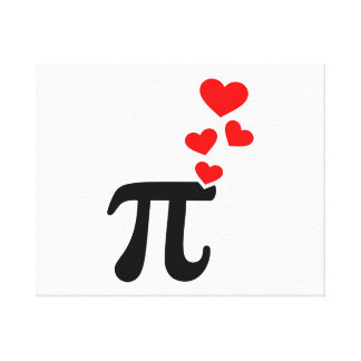 Pi red hearts stretched canvas print
