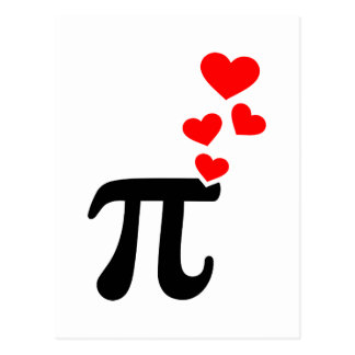 Pi red hearts post cards
