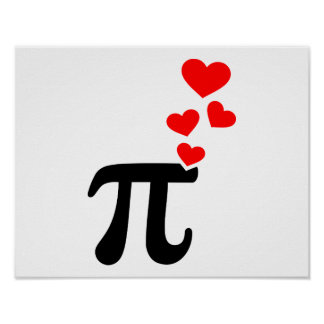 Pi red hearts poster