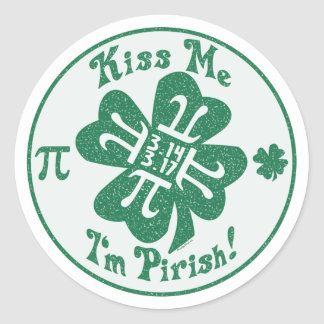 Pi-Rish Party Gear Classic Round Sticker