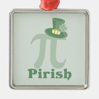 """Pi-rish"" Square Metal Christmas Ornament"