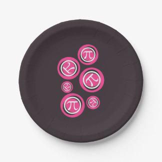 Pi rosados - Día del pi Plato De Papel De 7 Pulgadas