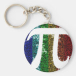 Pi Sign Electric Basic Round Button Keychain